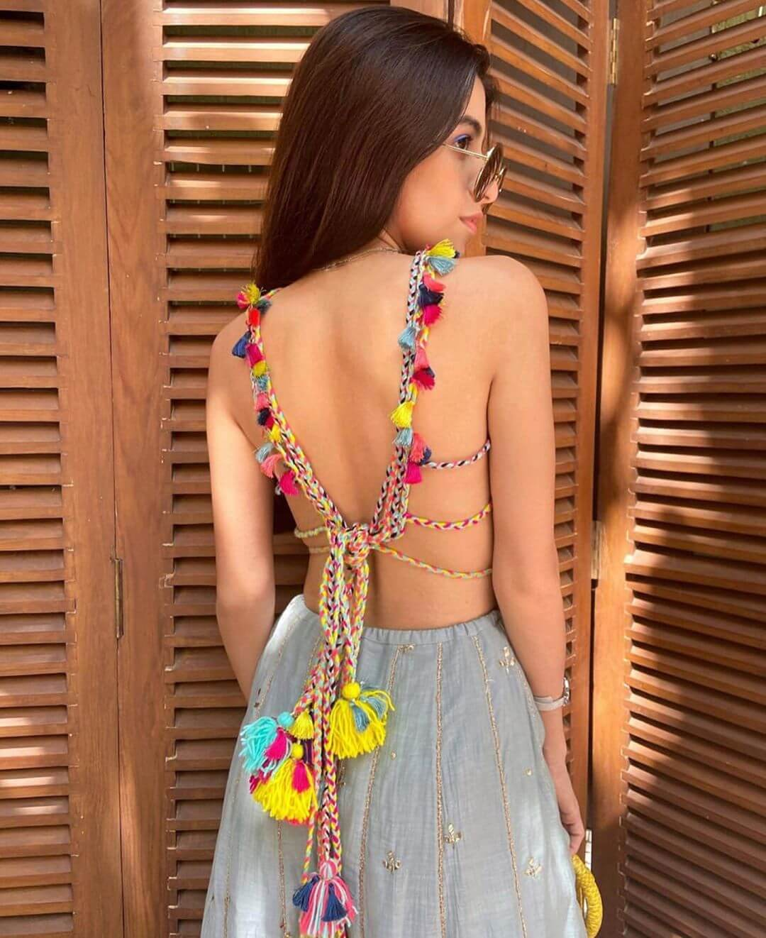Backless Blouse Design With Dori Knot