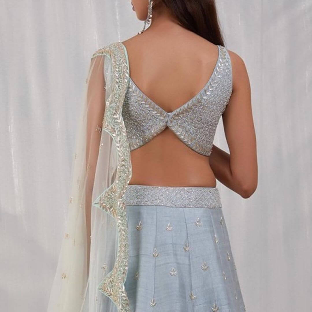 Backless Blouse With Butterfly Design