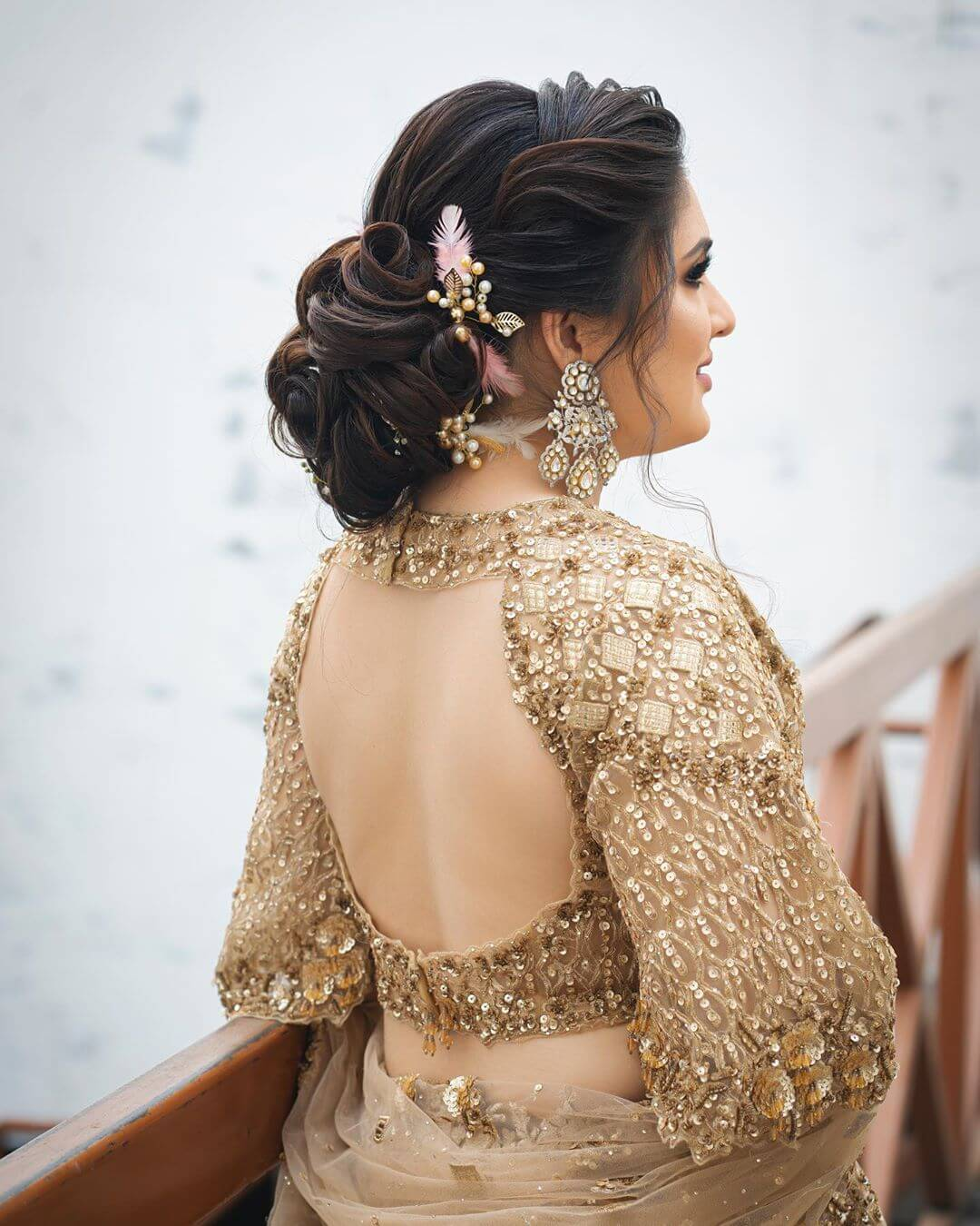 Golden Oval Shape Backless Blouse Design