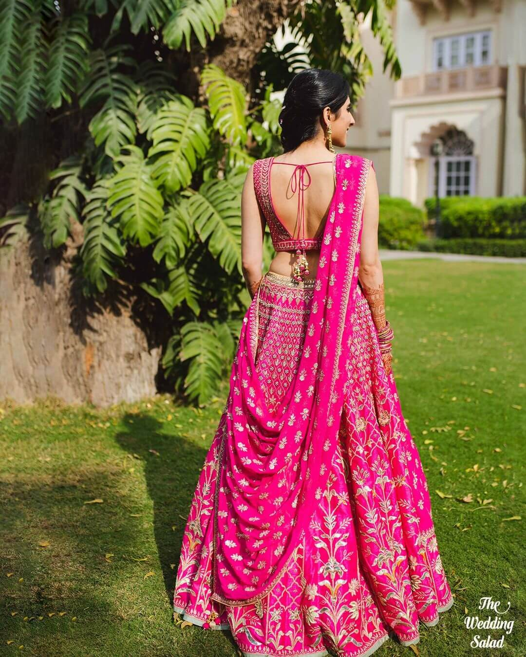 Traditional Pink Backless Blouse Design