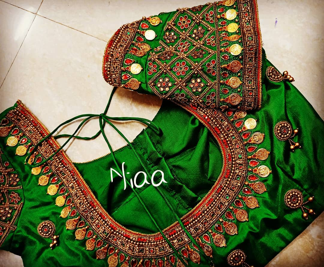 Bridal Maggam Work green Blouse design