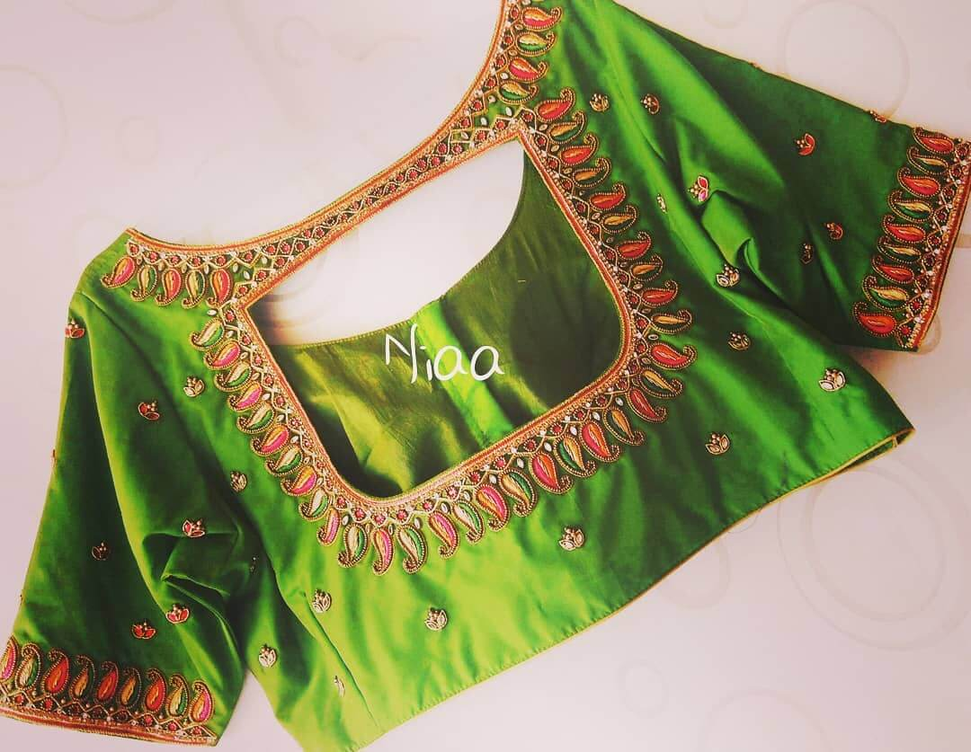 Bridal Maggam Work Blouse With Window Neck Design