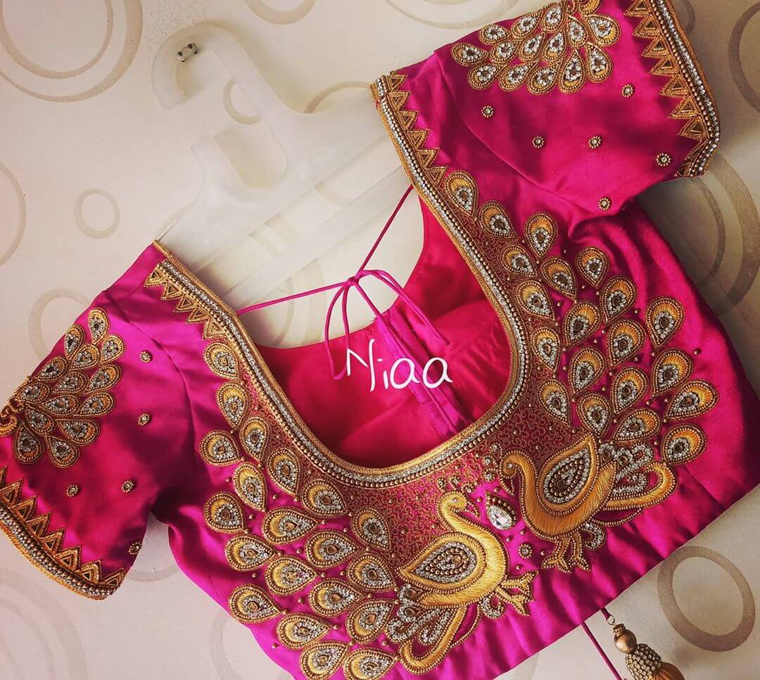 Bridal Maggam Work Blouse With Peacock Design Cover