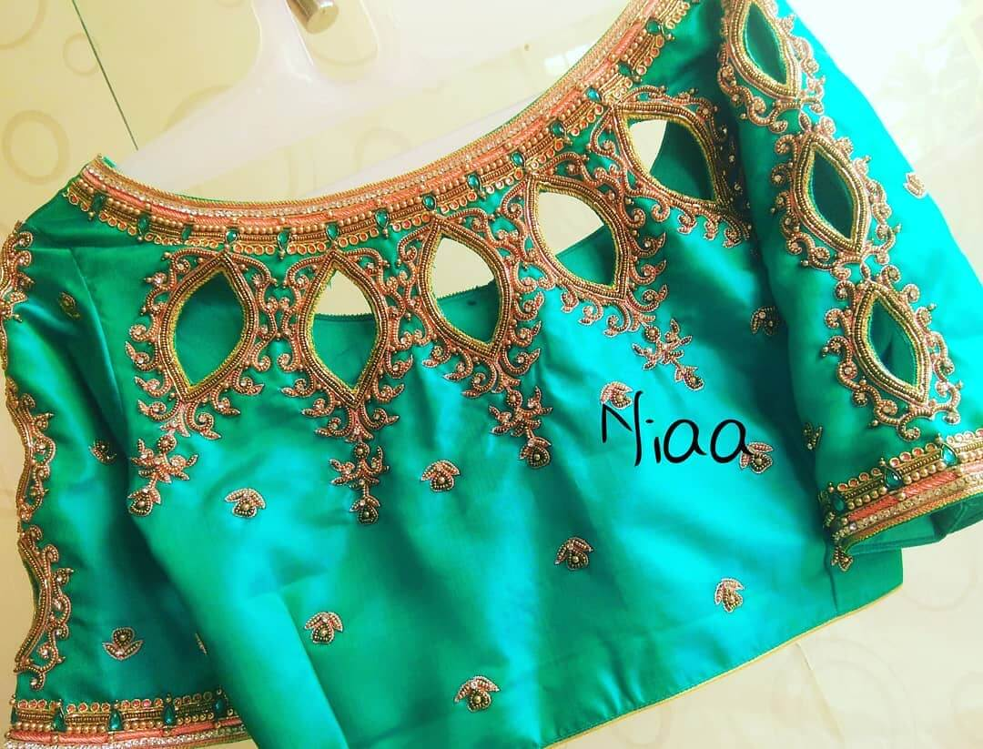 Bridal Maggam Work Blouse With Multiple Oval Cuts