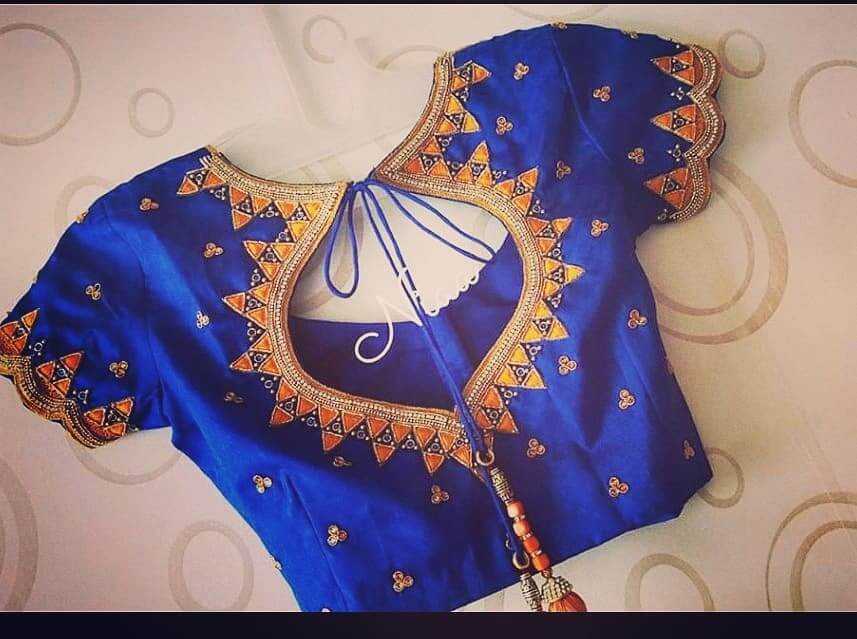 Bridal Maggam Work blue Blouse back design