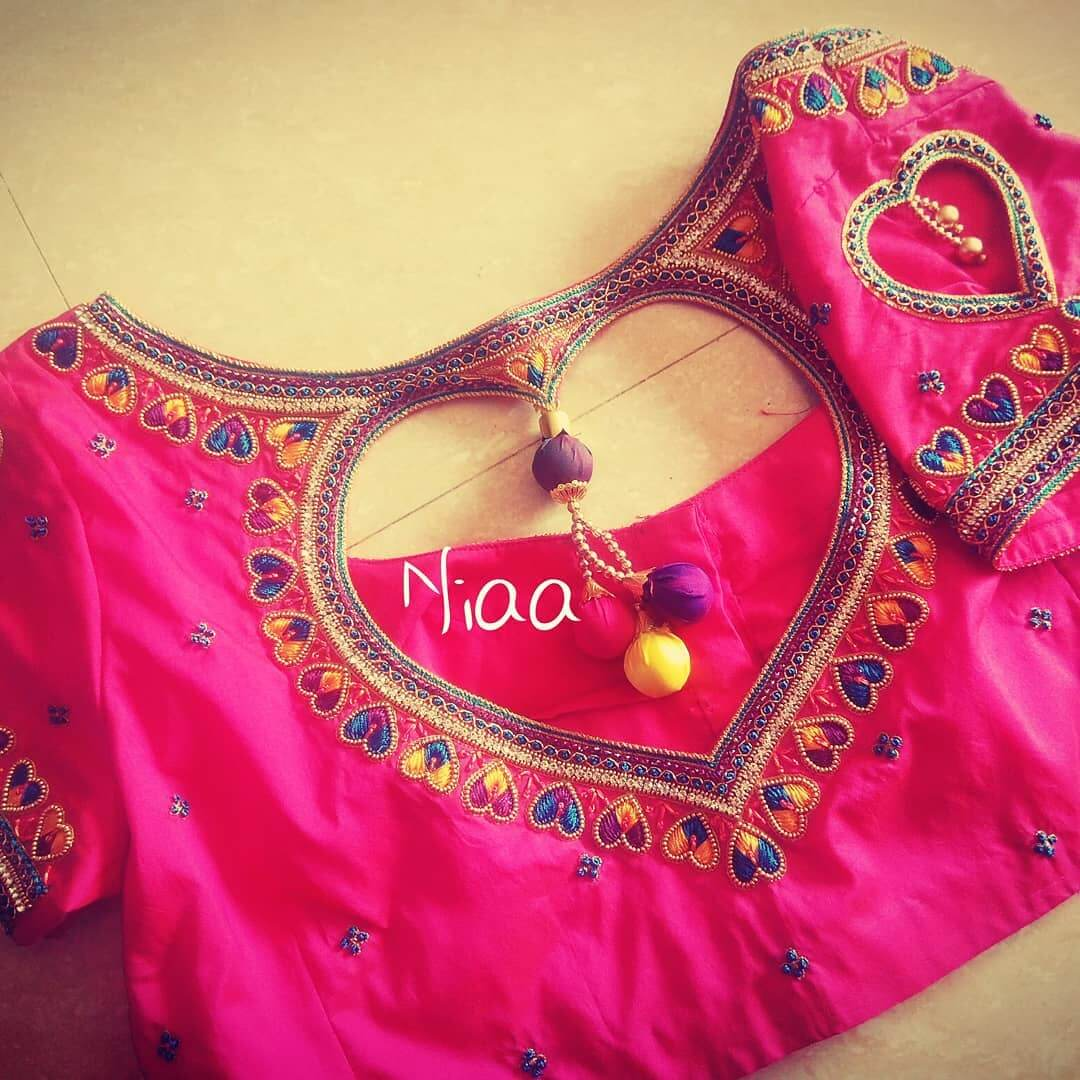 Bridal Maggam Work Pink Heart shaped Blouse design