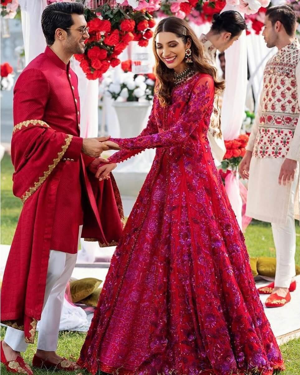Bride & Groom Matching Dress in Maroon for reception or engagement