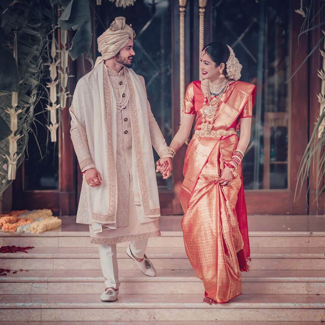 South Indian Bride and Groom Dress color combination