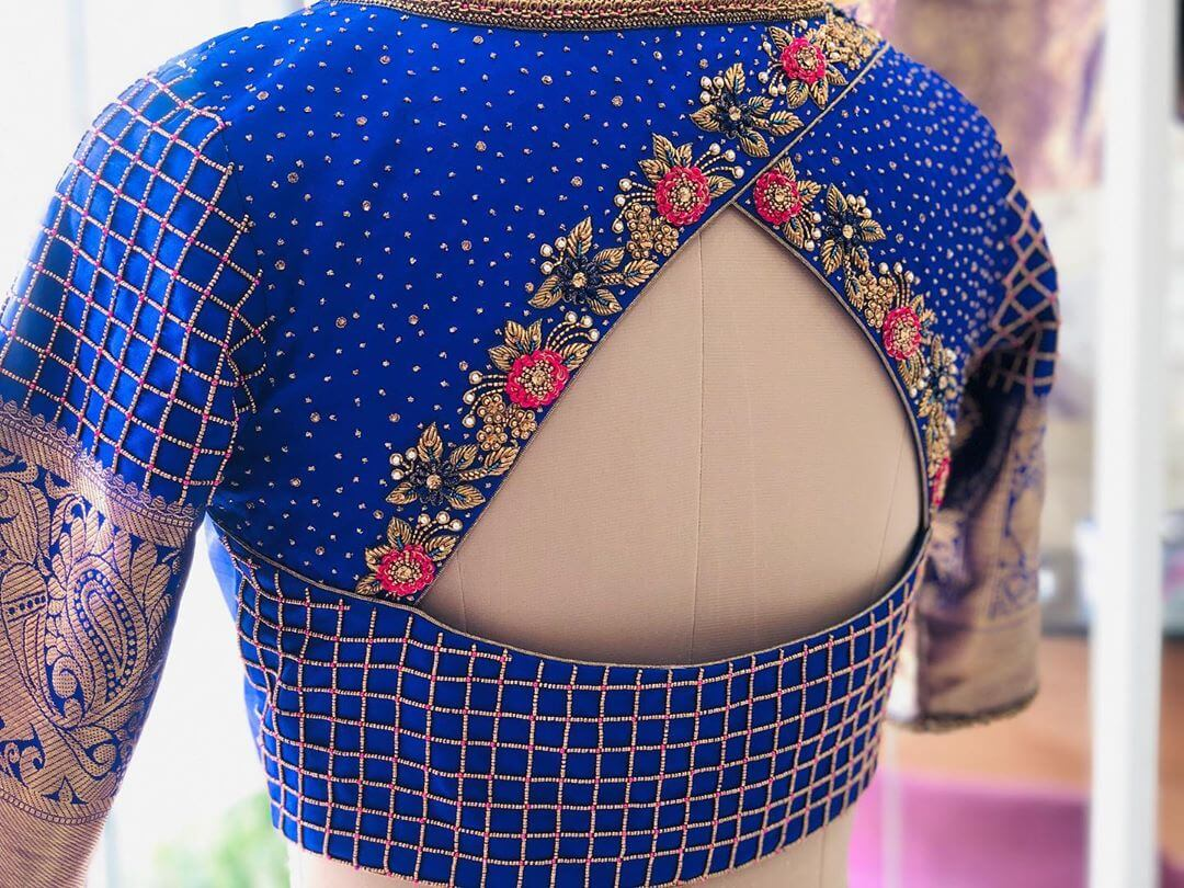 Dazzling Blue Blouse With Floral Patterns For South Indian Brides