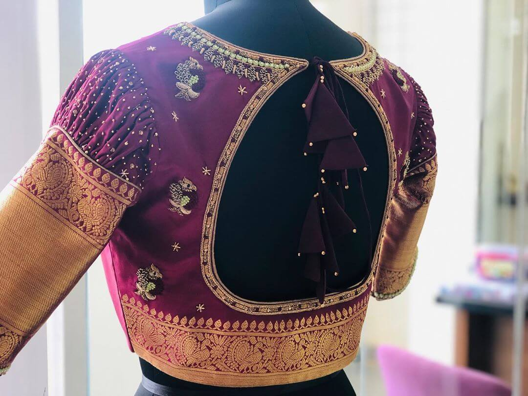 Eye-Filling Purple Blouse For South Indian Brides