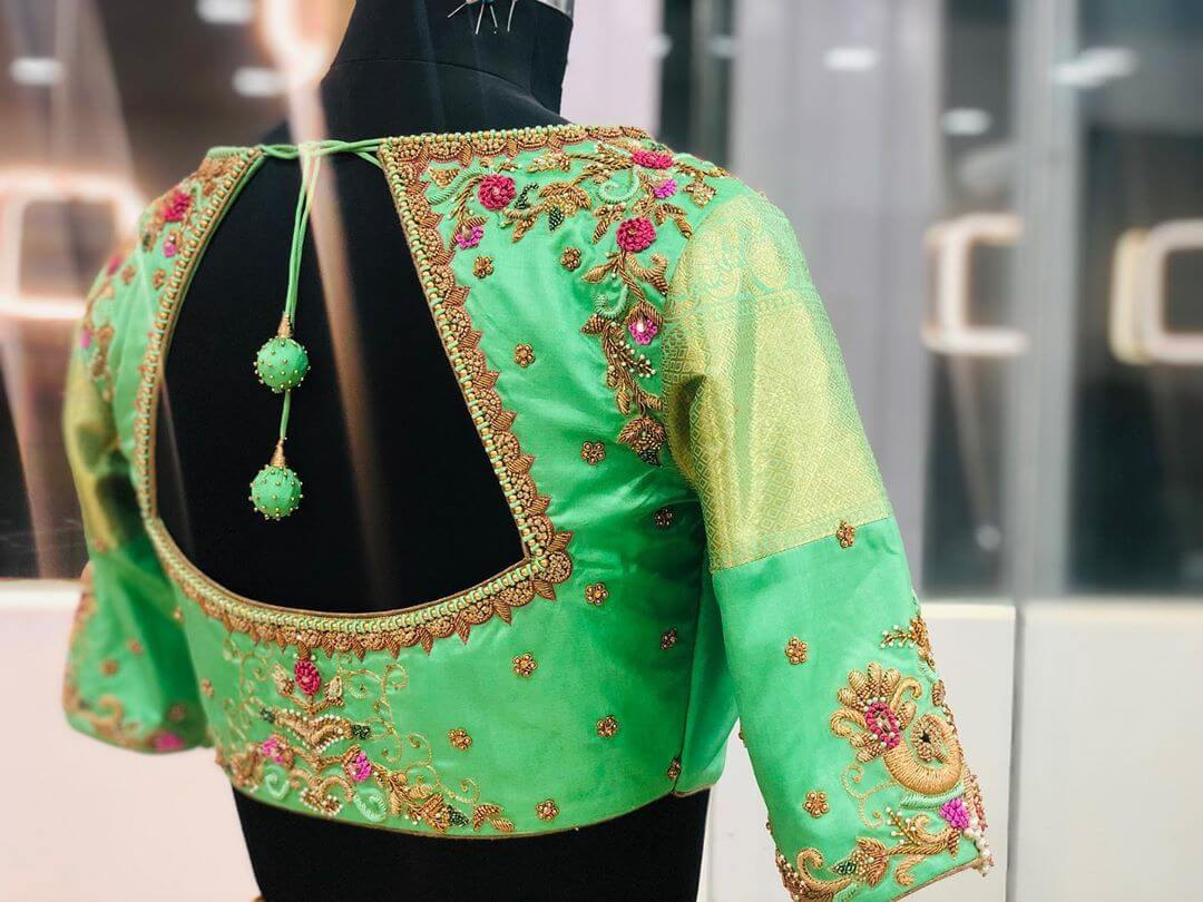Adductive Lawn Green Blouse For South Indian Brides