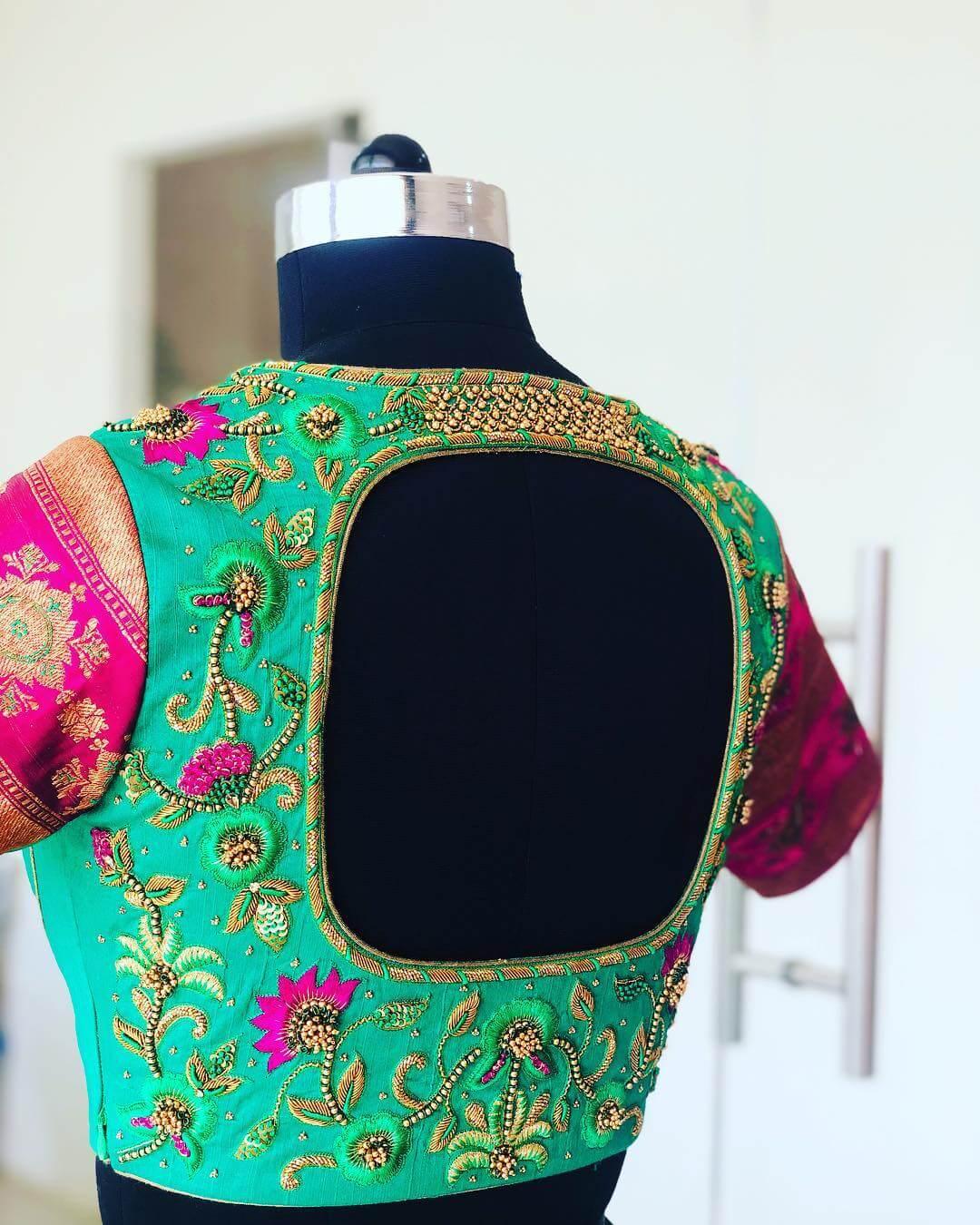 Mesmerising Aquamarine Blouse For South Indian Brides