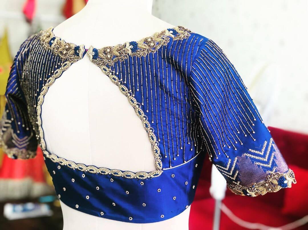 Graceful Blue Blouse For South Indian Brides