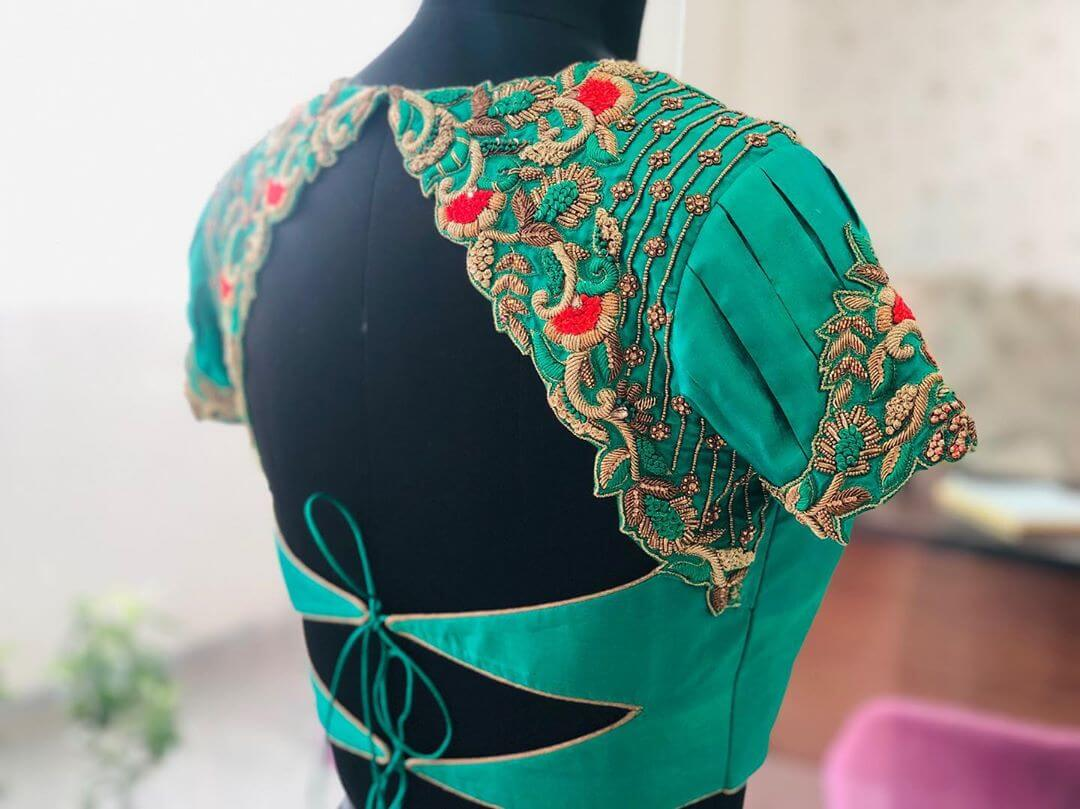 Delicate Turquoise Blouse For South Indian Brides