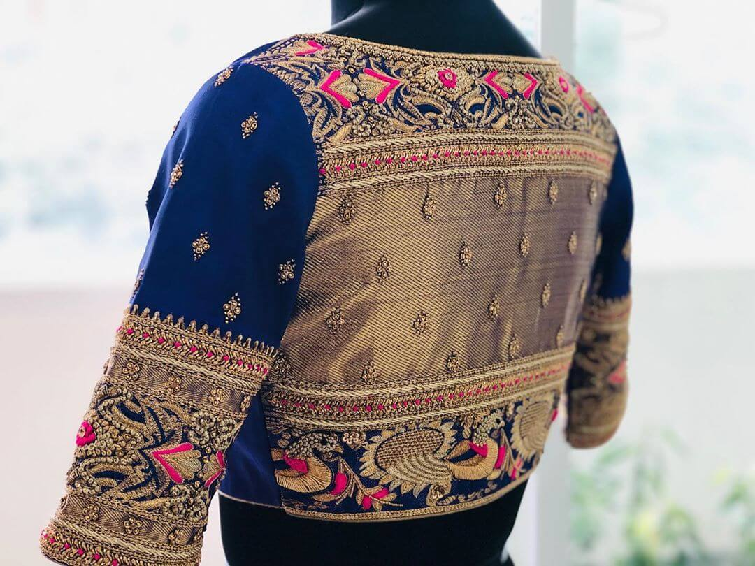Elegant Navy Blue Blouse For South Indian Brides