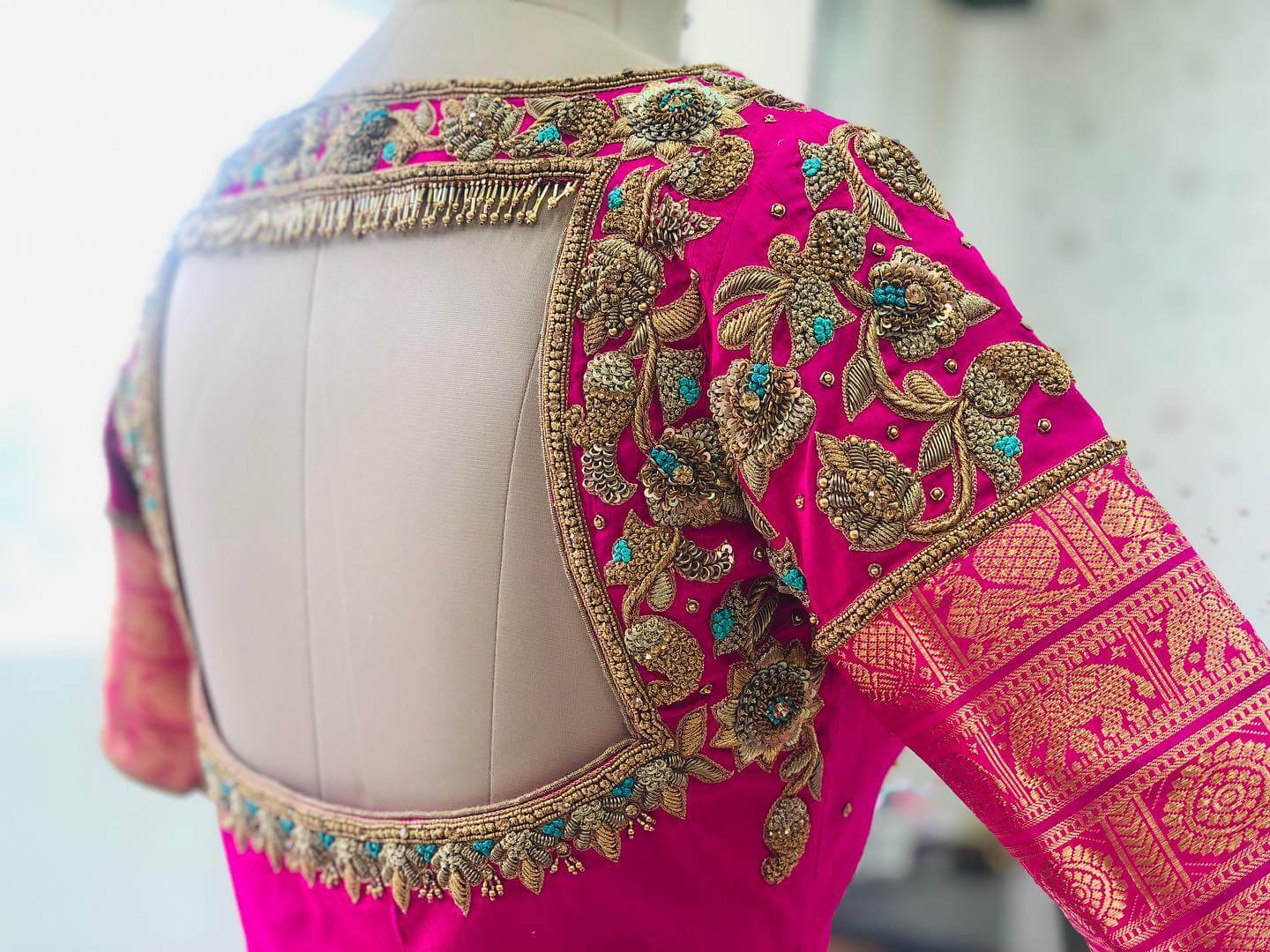 Traditional Dark Pink Blouse For South Indian Brides