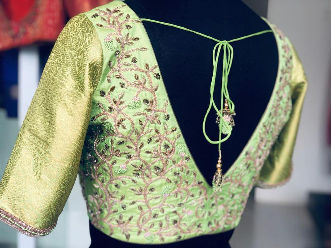 Gorgeous Greeny Yellow Blouse For South Indian Brides