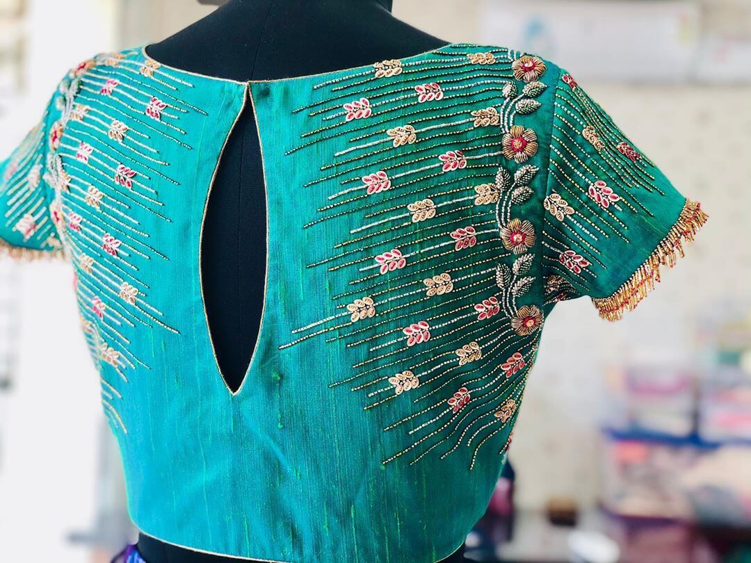 Fascinating Cyan Blouse For South Indian Brides