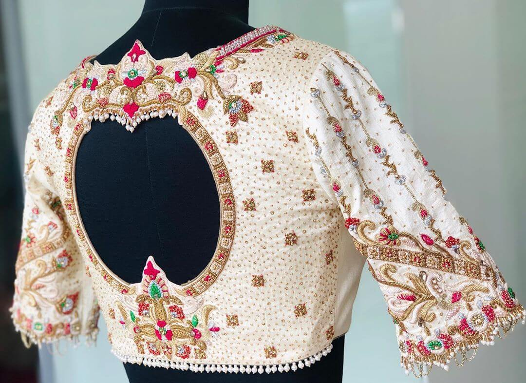 Charming Cream-White Blouse For South Indian Brides