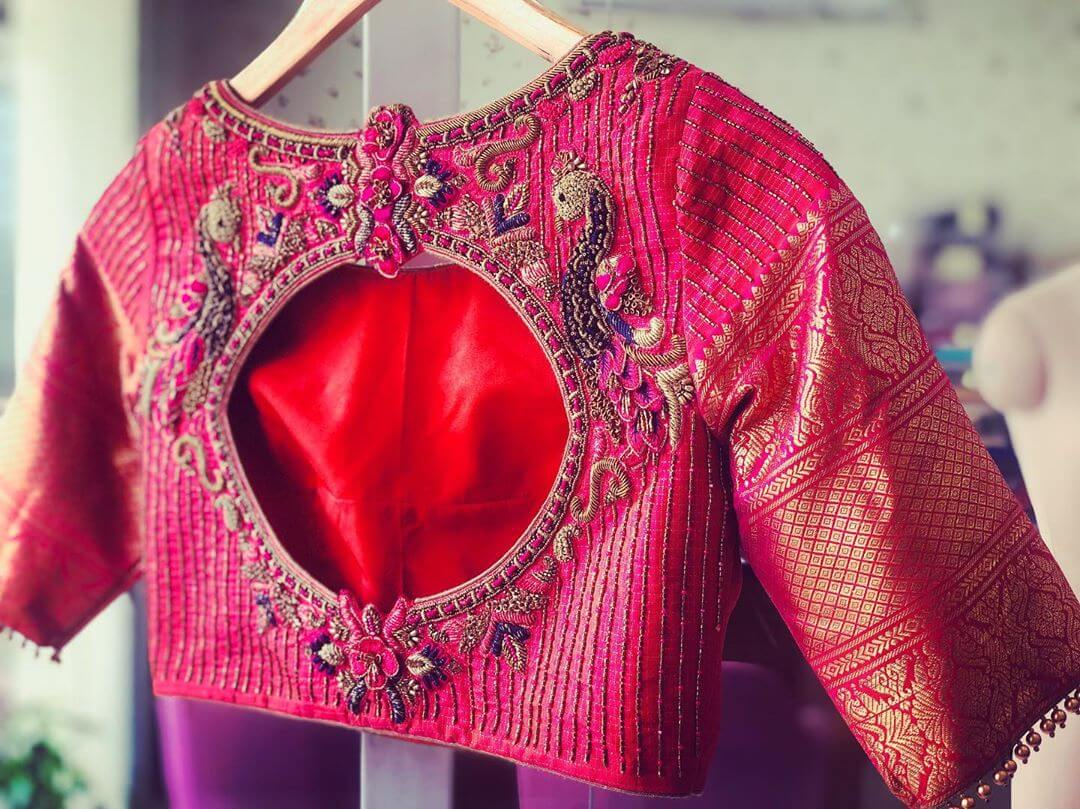 Stunning Pink Blouse For South Indian Brides