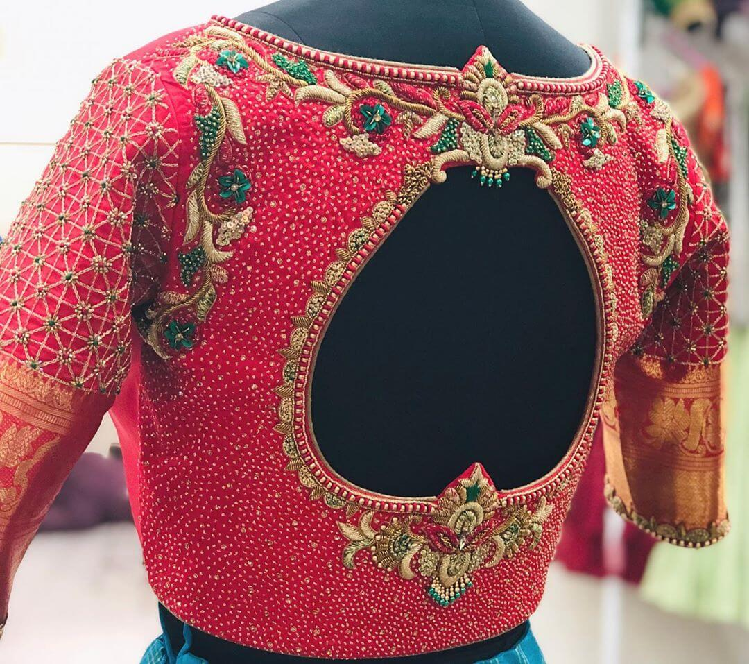 Grand Red Blouse For South Indian Brides