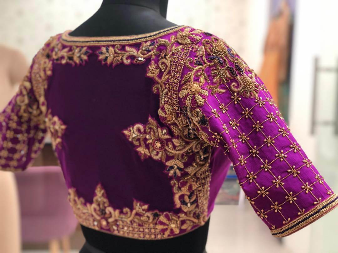 Prosperous Purple Blouse For South Indian Brides