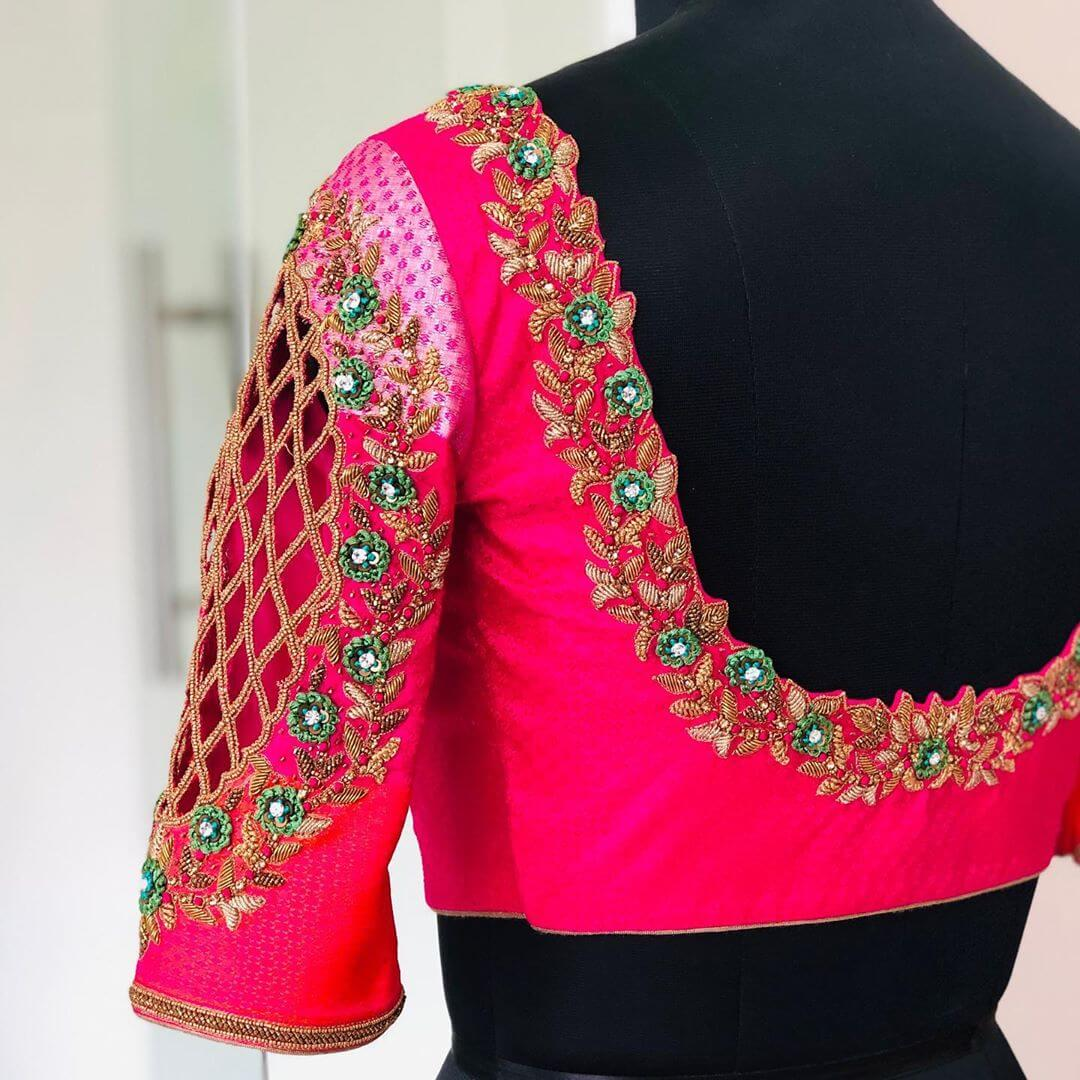 Harmonious Hot Pink Blouse For South Indian Brides