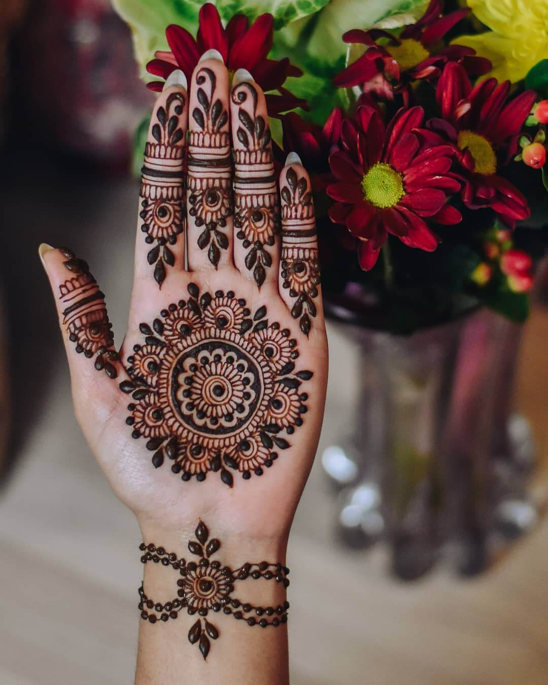 Intricate mandalas for enchanting brides Half Hand Mehndi Design