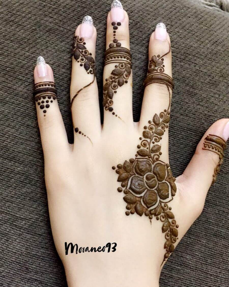 Khafif Curly Vines Mehndi Design For Fingers