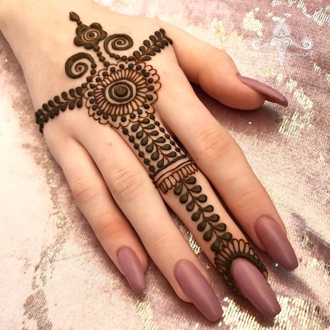 One Finger Palm Cuff Mehndi Design