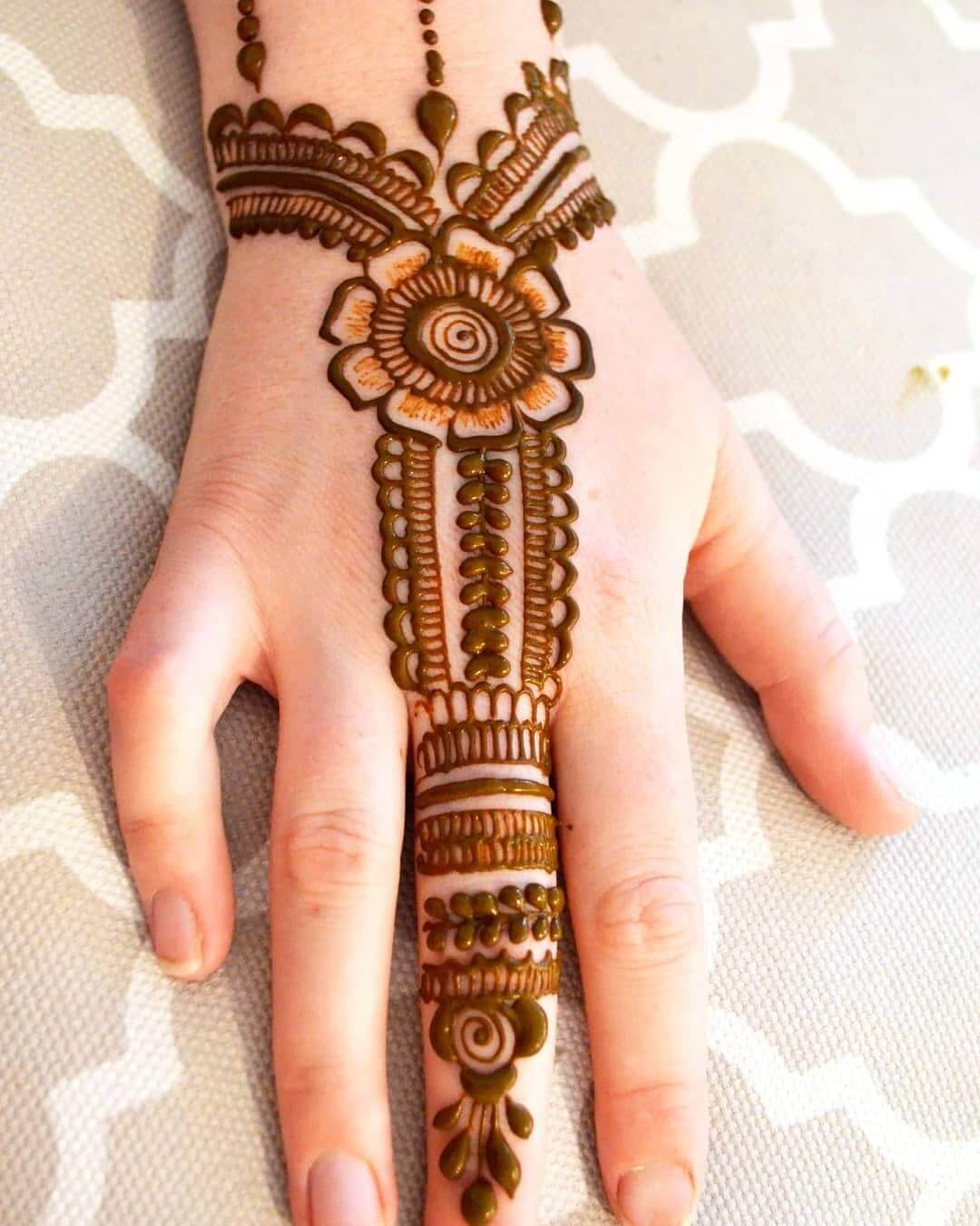 O ne Finger Ring Bracelet Mehndi Design