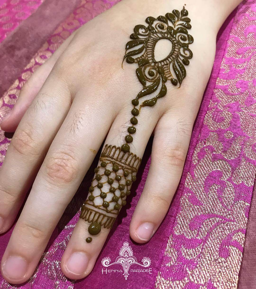 One Finger Cuff Ring Inspired Mehndi Design