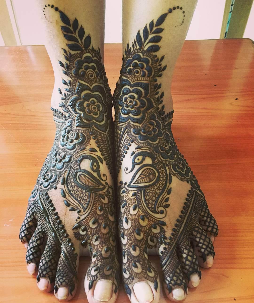 Grand Peacock Mehndi Design For Feet