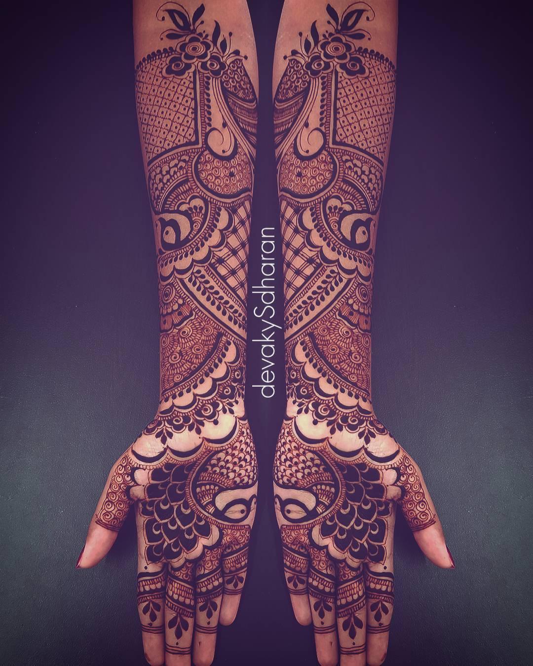 Traditional Peacock Mehndi Design For Full Hand