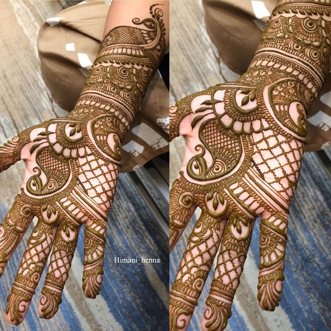 Beguiling Peacock Mehndi Design For Palm
