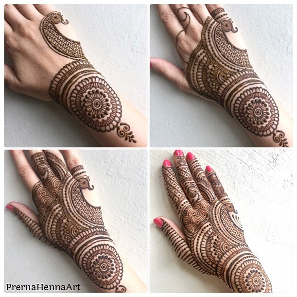 Harmonious Peacock Mehndi Design For Back Of The Palm