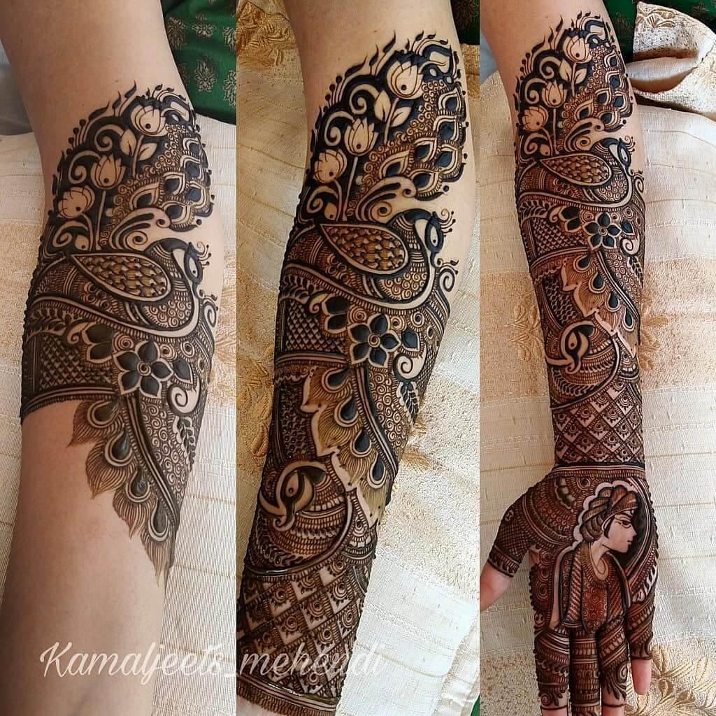 Aesthetic Peacock Mehndi Design For Full Hand