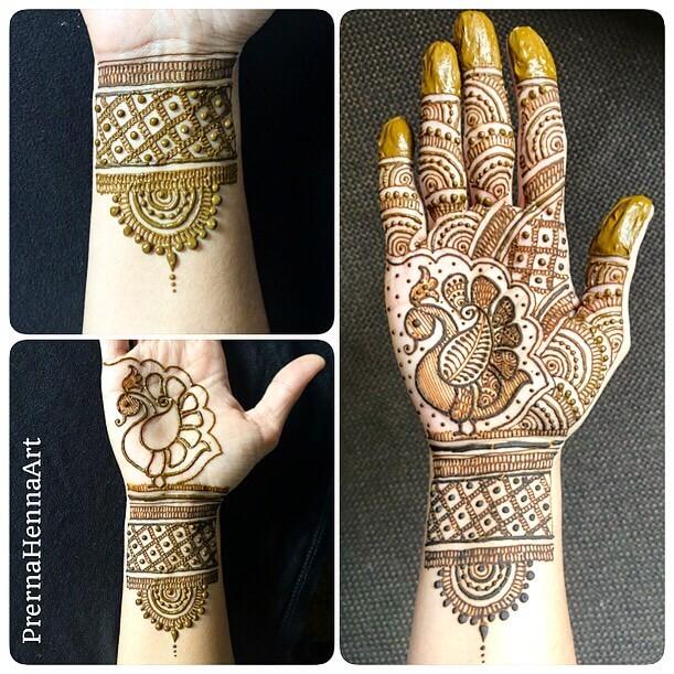 Lovely Peacock Mehndi Design For Palm