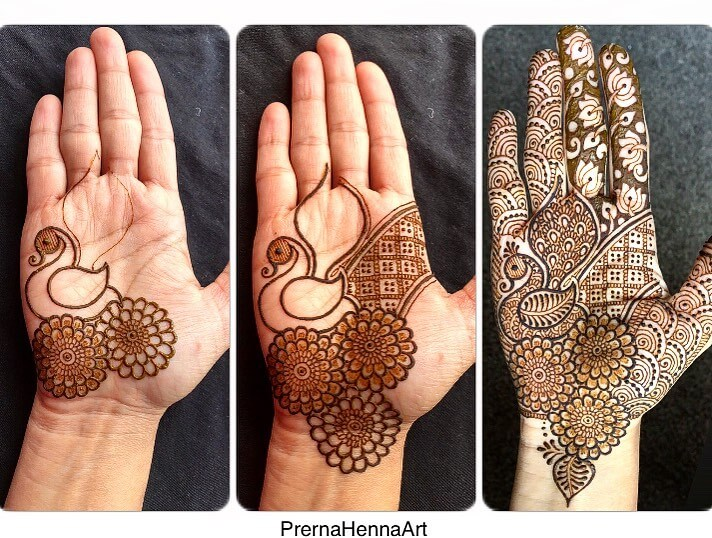 Decorative Peacock Mehndi Design For Palm