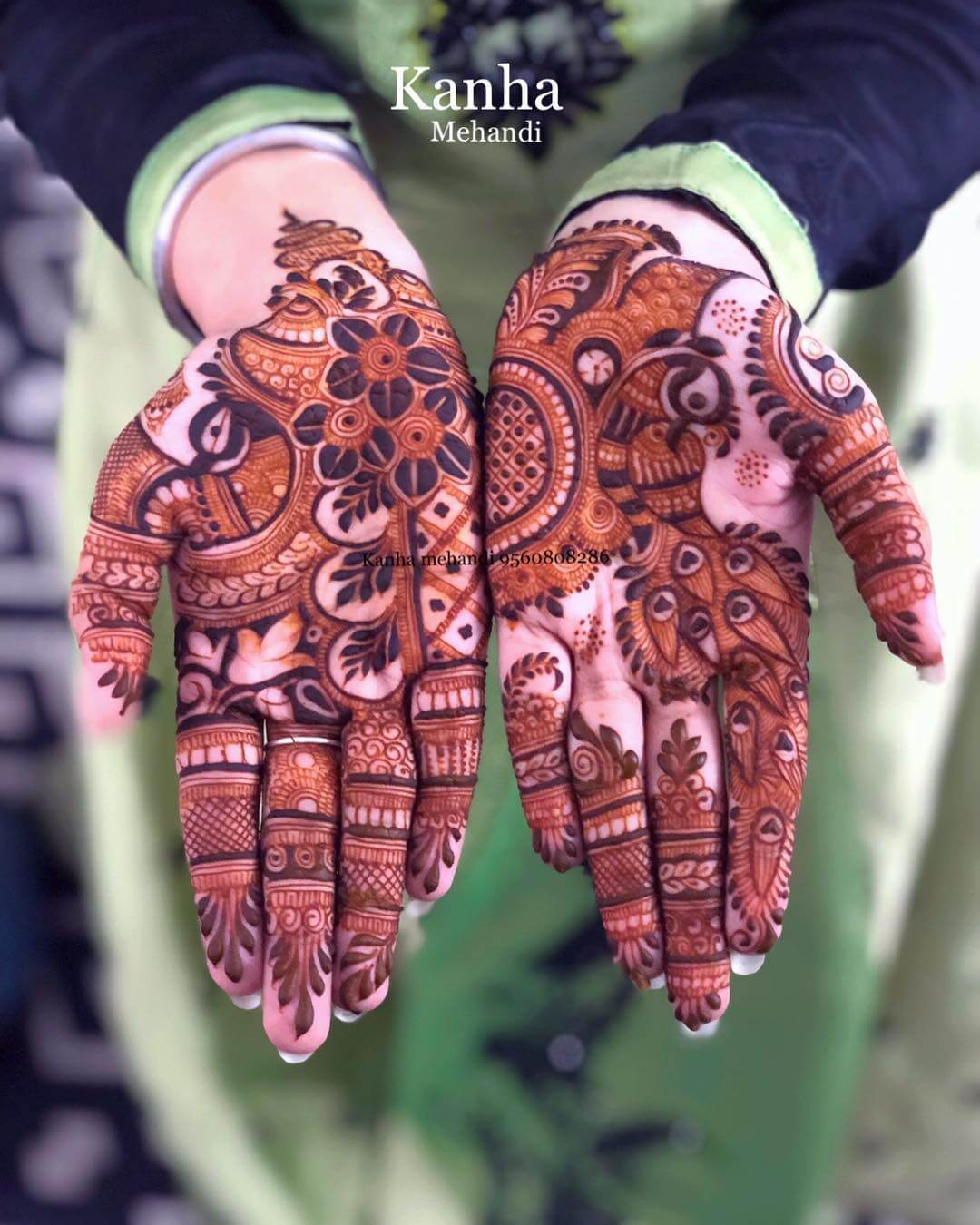 Magnificent Peacock Mehndi Design For Palms