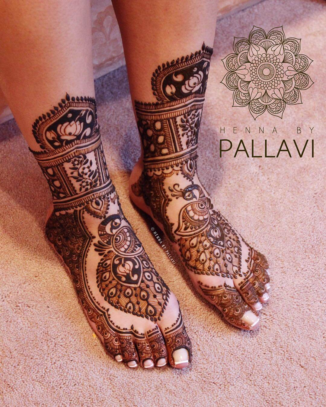 Attractive Peacock Mehndi Design For Feet