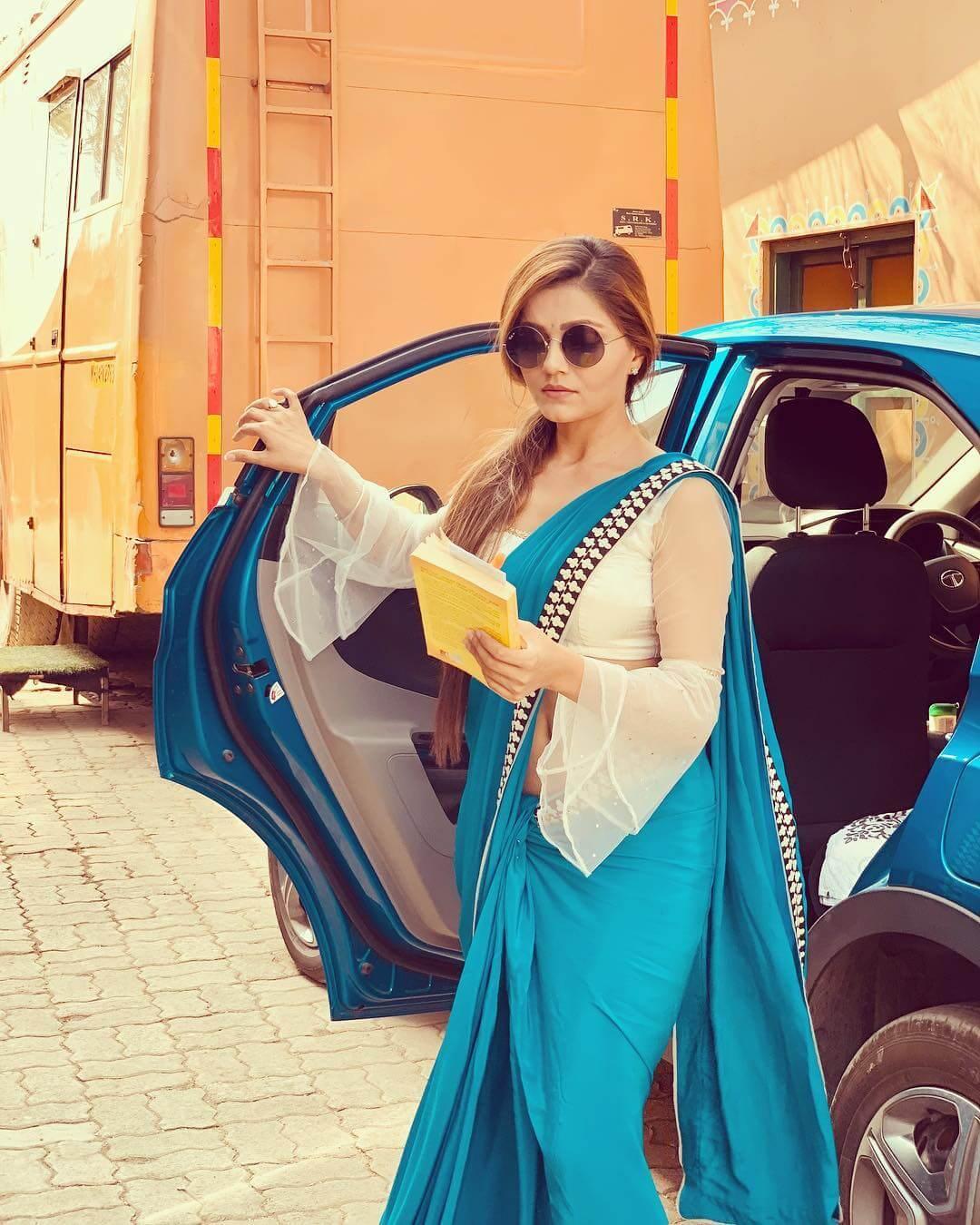 Beautiful Bell-Sleeves Saree Blouse Designs by Rubina Dilaik