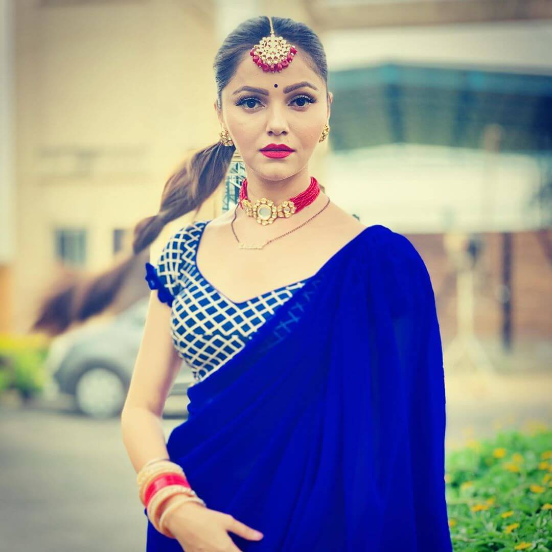 Royal Blue Cap Sleeve Blouse In Grid Pattern Saree Blouse Design by Rubina Dilaik