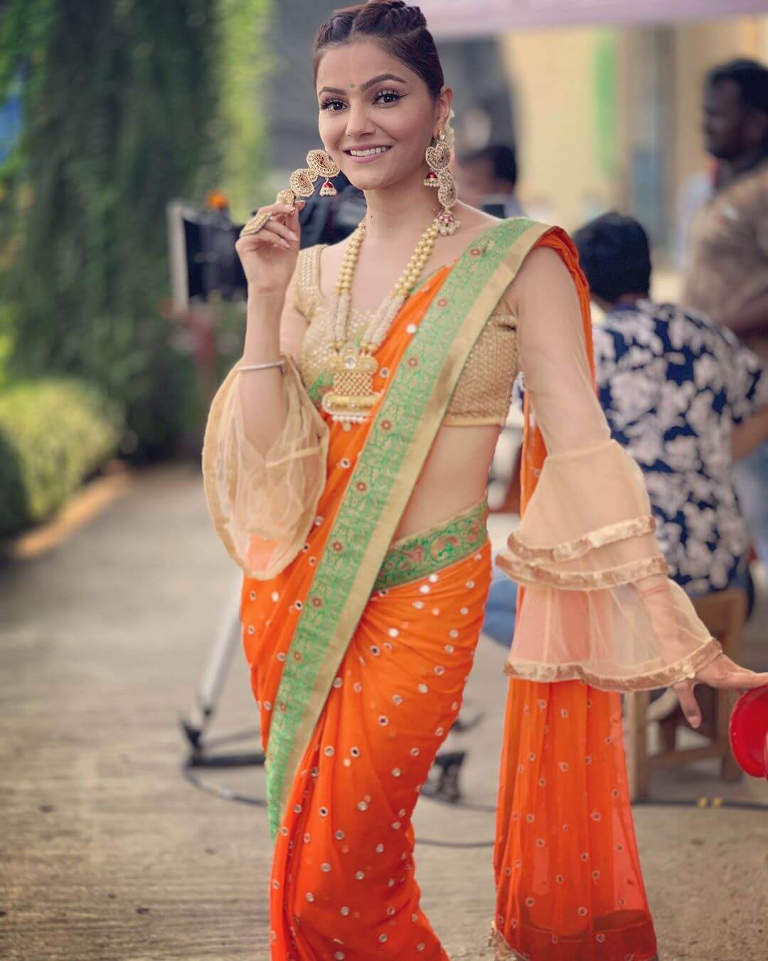 Full Length Bell Sleeves With Multiple Frill Design Saree Blouse Design by Rubina Dilaik