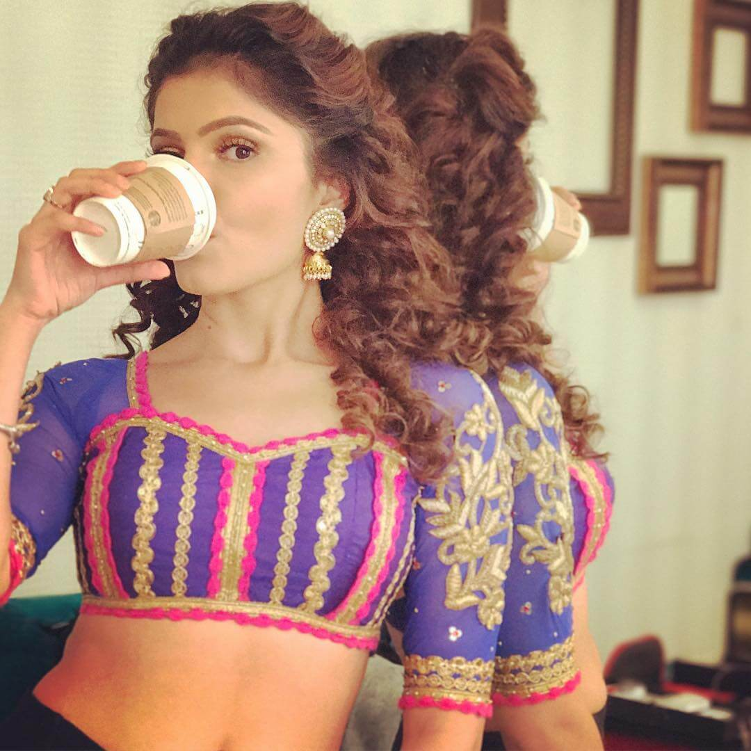 Purple Blouse With Pink Lace Design by Rubina Dilaik