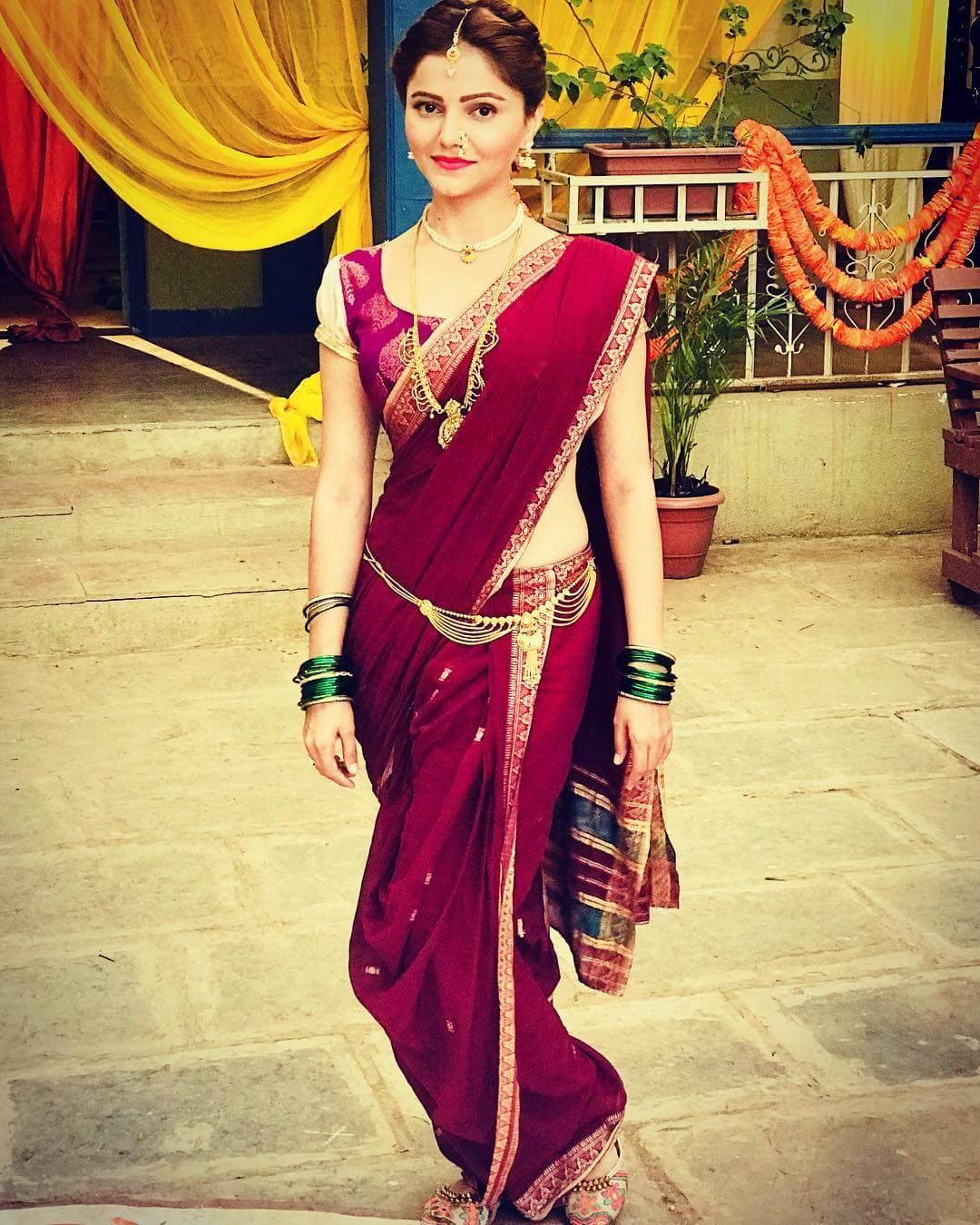 Puff Sleeved Saree Blouse Design by Rubina Dilaik
