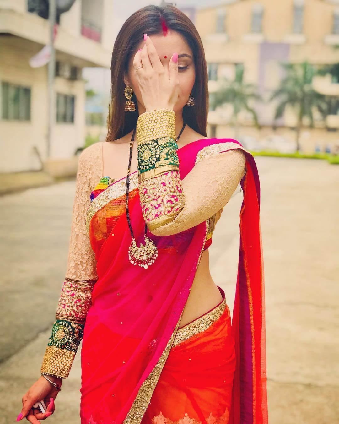 Full Sleeves Multi Color Saree Blouse Design by Rubina Dilaik