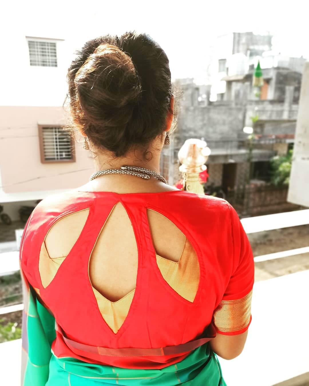 Lotus Petals Saree Blouse Back Neck Design