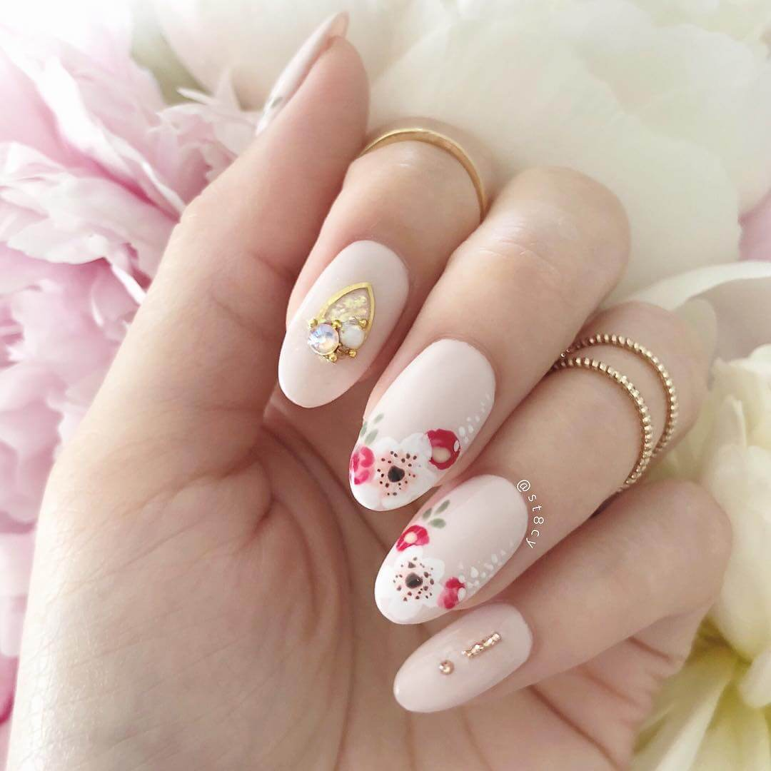 Embellished Spring Nail Art perfect for wedding