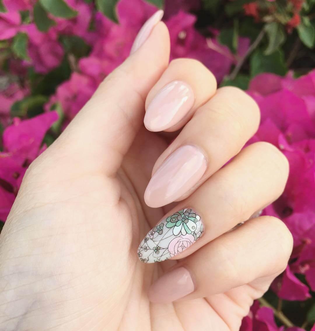Simple Spring Gel Nails